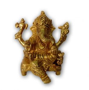 Attractive Brass Ganesh Statue Dukh Harta Ganesha Sitting With Chowki