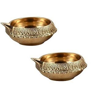 Brass Kuber Diya Brass Deepak Set Of 2