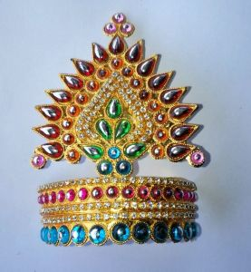 Diamond And Moti Work Design Mukut For Bal Gopal / Mukut For Thakurji