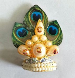 Morpankh And Moti Work Design Mukut For Laddu Gopal / Shringar For Thakurji
