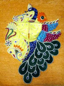 Heavy Designer Peacock Style Embroidery Poshak For Laddu Gopal ( 4 No.)