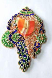 Peacock Work Shankh Design Poshak For Laddu Gopal / Poshak For Bal Gopal