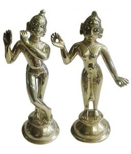 Idols & Decoratives - Brass Radha Krishan Statue, Religious God Krishan Radha Golden Murti