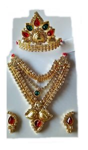 Stylish Mala Mukut Stone Jewellery Set Laddu Gopal Big Size Shringar Set With Free Poshak
