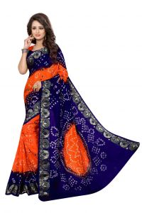 Nirja Creation Orange And Blue Color Art Silk Bandhani Saree Nc1044ssd