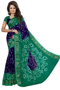 Nirja Creation Green And Blue Color Art Silk Bandhani Saree Nc1046ssd