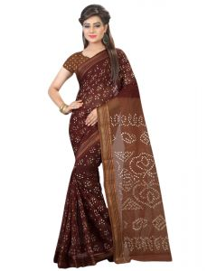 Nirja Creation Brown Color Cotton Silk Bandhani Saree Nc1074ssd