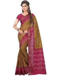 Nirja Creation Pink And Mehendi Color Cotton Silk Bandhani Saree Nc1075ssd