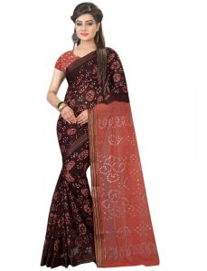 Nirja Creation Brown Color Cotton Silk Bandhani Saree Nc1076ssd