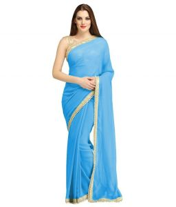 Nirja Creation Blue Georgette Fancy Saree (code - Nc-ods-151)