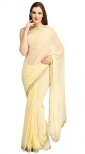 Nirja Creation White Georgette Fancy Saree (code - Nc-ods-152)