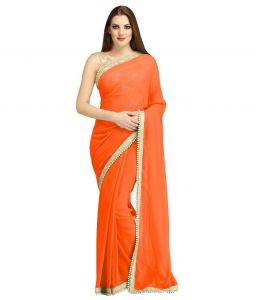 Nirja Creation Orange Georgette Fancy Saree (code - Nc-ods-153)