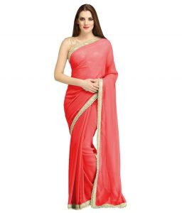 Nirja Creation Red Georgette Fancy Saree (code - Nc-ods-156)
