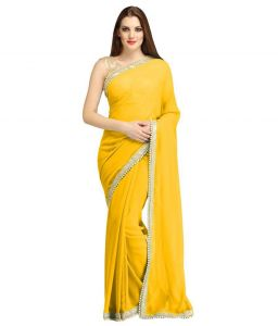 Nirja Creation Yellow Georgette Fancy Saree (code - Nc-ods-158)