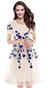 Pramukh Enterprise Designer Latest White & Blue Colour Semi Stitched Western Kurti Kt1012