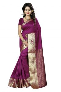 Nirja Creation Purple Color Cotton Fancy Saree (code - Nc-fr-170)