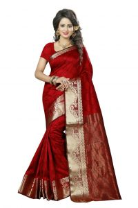 Nirja Creation Red Color Cotton Fancy Saree (code - Nc-fr-174)