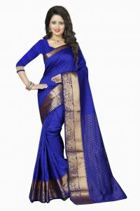 Nirja Creation Blue Color Cotton Fancy Saree (code - Nc-fr-175)