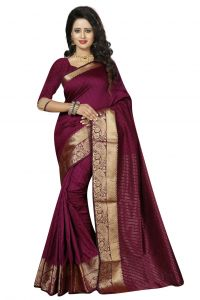 Nirja Creation Maroon Color Cotton Fancy Saree (code - Nc-fr-176)