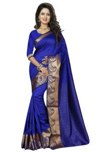 Nirja Creation Blue Color Cotton Fancy Saree (code - Nc-fr-181)