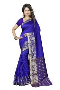 Nirja Creation Blue Color Cotton Fancy Saree (code - Nc-fr-187)