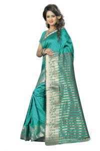 Nirja Creation Green Color Cotton Fancy Saree (code - Nc-fr-191)