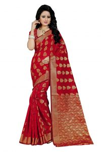 Nirja Creation Red Color Banarasi Cotton Fancy Saree (code - Nc-fr-752)