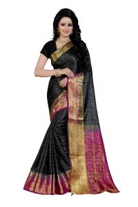 Nirja Creation Black Color Banarasi Cotton Fancy Saree (code - Nc-fr-756)