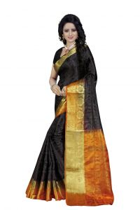 Nirja Creation Black Color Banarasi Cotton Fancy Saree (code - Nc-fr-757)