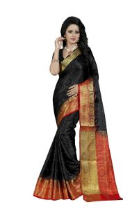 Nirja Creation Black Color Banarasi Cotton Fancy Saree (code - Nc-fr-758)