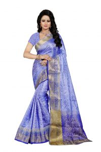 Nirja Creation Sky Blue Color Banarasi Cotton Fancy Saree (code - Nc-fr-759)