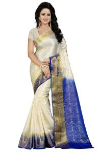 Nirja Creation White Color Banarasi Cotton Fancy Saree (code - Nc-fr-764)
