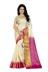 Nirja Creation White Color Banarasi Cotton Fancy Saree (code - Nc-fr-765)