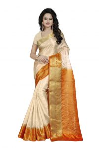 Nirja Creation White Color Banarasi Cotton Fancy Saree (code - Nc-fr-766)