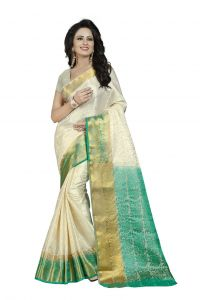 Nirja Creation White Color Banarasi Cotton Fancy Saree (code - Nc-fr-767)