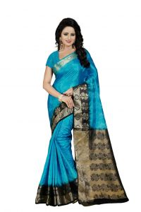 Nirja Creation Sky Blue Color Banarasi Cotton Fancy Saree (code - Nc-fr-770)