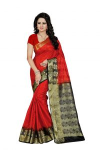 Nirja Creation Red Color Banarasi Cotton Fancy Saree (code - Nc-fr-773)