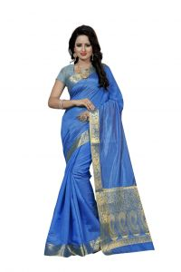 Nirja Creation Blue Color Banarasi Cotton Fancy Saree (code - Nc-fr-789)