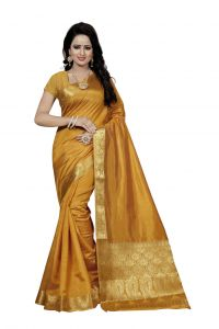 Nirja Creation Yellow Color Banarasi Cotton Fancy Saree (code - Nc-fr-792)