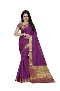 Nirja Creation Purple Color Banarasi Cotton Fancy Saree (code - Nc-fr-794)