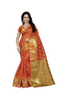 Nirja Creation Orange Color Banarasi Cotton Fancy Saree (code - Nc-fr-799)