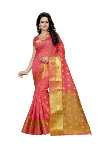 Nirja Creation Pink Color Banarasi Cotton Fancy Saree (code - Nc-fr-800)