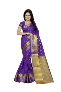 Nirja Creation Violent Color Banarasi Cotton Fancy Saree (code - Nc-fr-801)