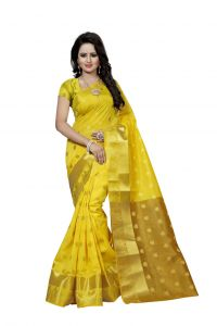 Nirja Creation Yellow Color Banarasi Cotton Fancy Saree (code - Nc-fr-802)