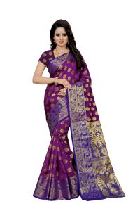 Nirja Creation Purple Color Banarasi Cotton Fancy Saree (code - Nc-fr-804)