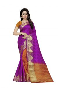 Nirja Creation Purple Color Banarasi Cotton Fancy Saree (code - Nc-fr-809)