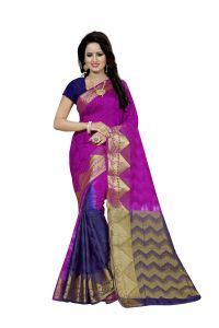 Nirja Creation Purple Color Banarasi Cotton Fancy Saree (code - Nc-fr-812)