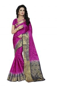 Nirja Creation Purple Color Banarasi Cotton Fancy Saree (code - Nc-fr-817)