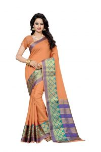 Nirja Creation Orange Color Banarasi Cotton Fancy Saree (code - Nc-fr-859)