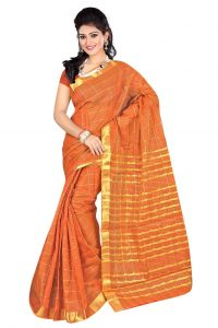 Nirja Creation Orange Color Banarasi Cotton Fancy Saree (code - Nc-fr-858)